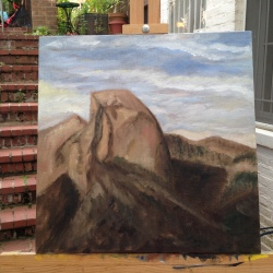 Half Dome in Yosemite Park, in progress