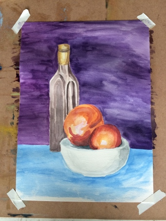 First fuller painting of the day. Nectarine and bottle still life.