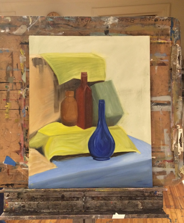 still life with bottles and box