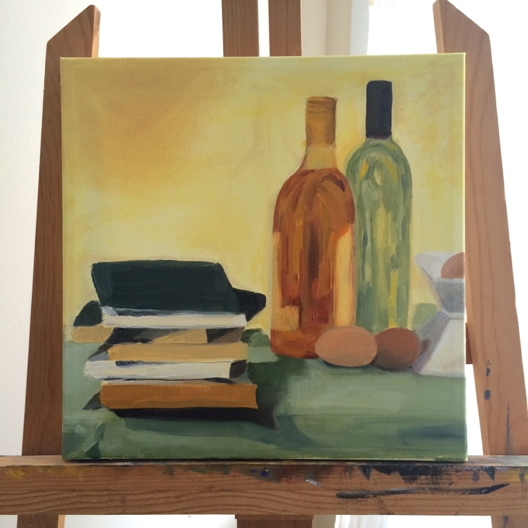painting of books bottles and eggs