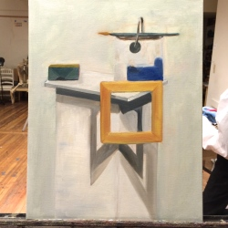 painting of pail of paint, brush, frame, and shadows