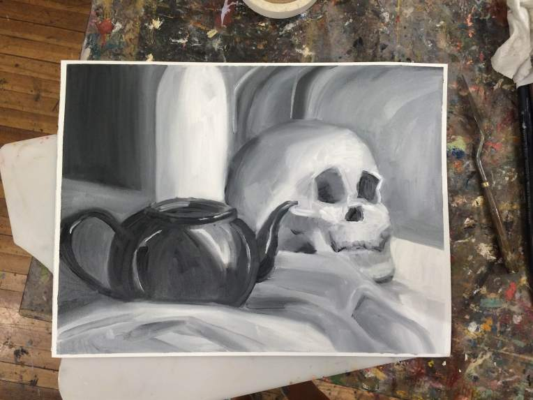 painting of a skull and a teapot