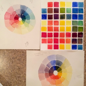 Warm and cool color wheels along with a color grid exercise.