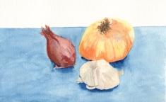 onion garlic still life